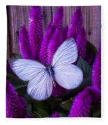 White Butterfly On Flowering Celosia Fleece Blanket