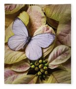 White Butterfly On Poinsettia Fleece Blanket