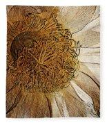 White Cactus Flower Gold Leaf Fleece Blanket