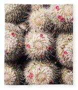 White Cactus Pink Flowers No1 Fleece Blanket