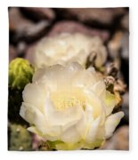 White Cactus Rose Fleece Blanket