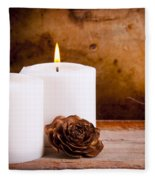White Candles With Rose Fleece Blanket