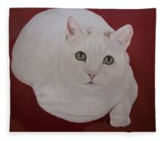 White Cat Fleece Blanket