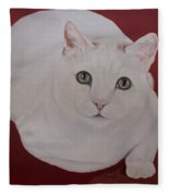 White Cat Fleece Blanket