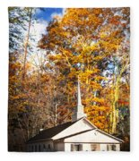 White Church In Autumn Fleece Blanket
