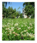 White Clover Field And The Playground Fleece Blanket