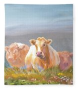 White Cows Painting Fleece Blanket