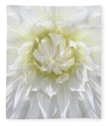 White Dahlia Floral Delight Fleece Blanket