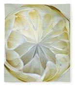White Dahlia Orb Fleece Blanket