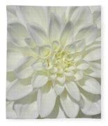 White Dahlia Square Fleece Blanket