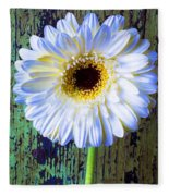 White Daisy With Green Wall Fleece Blanket