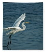 White Egret Landing Fleece Blanket