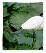 White Egret On Lilypads Fleece Blanket