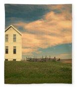 White Farmhouse And Corral Fleece Blanket