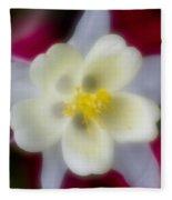 White Flower On Red Background Fleece Blanket