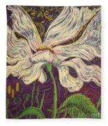 White Flower Series 6 Fleece Blanket