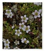 White Flowers And Moss Fleece Blanket
