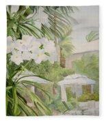 White Flowers Aruba Fleece Blanket