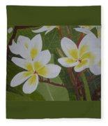White Flowers Fleece Blanket
