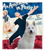 White German Shepherd Art Canvas Print - An American In Paris Movie Poster Fleece Blanket