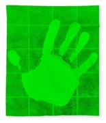 White Hand Green Fleece Blanket
