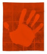 White Hand Orange Fleece Blanket