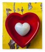 White Heart Red Heart Fleece Blanket