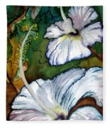 White Hibiscus Fleece Blanket