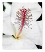 White Hibiscus Fleece Blanket