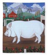 White Hog And Roses Fleece Blanket
