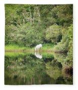 White Horse Drinking Water Fleece Blanket