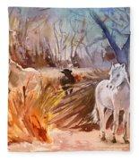 White Horses And Bull In The Camargue Fleece Blanket
