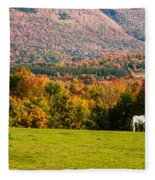 White Horses Grazing With View Of Green Mtns Fleece Blanket