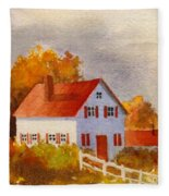 White House With Red Shutters Fleece Blanket