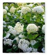 White Hydrangeas Fleece Blanket