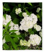 White Hydrangia Beauty Fleece Blanket