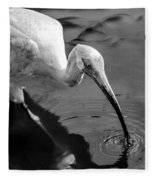 White Ibis - Bw Fleece Blanket