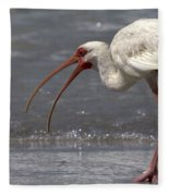 White Ibis On The Beach Fleece Blanket