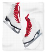 White Ice Skates With Red Laces Fleece Blanket
