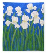White Irises Fleece Blanket