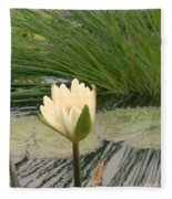 White Lily Near Pond Grass Fleece Blanket