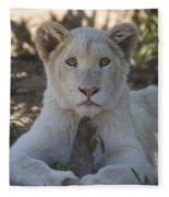 White Lion Cub  Fleece Blanket