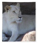 White Lion Looking Proud Fleece Blanket
