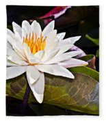 White Lotus Flower Fleece Blanket