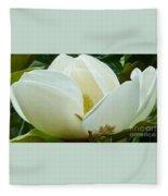 White Magnolia Elegance Fleece Blanket