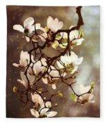 White Magnolias Fleece Blanket