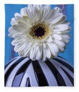 White Mum In Striped Vase Fleece Blanket