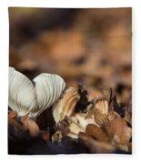 White Mushroom Long Gills Fleece Blanket