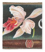 White Orchid Cigar Label Fleece Blanket