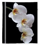 White Orchids On Black Vertical Fleece Blanket